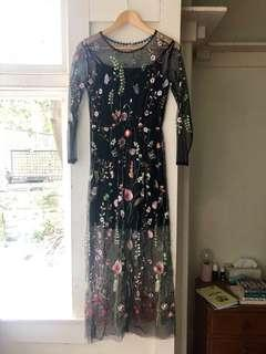 Size M Sheer Embroidered Dress w/ Slip