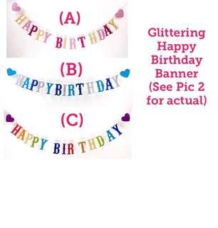 (27/10) Happy Birthday Glittering Banner /Bunting Party Deco