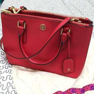 Authentic Tory burch double zip tote leather bag in pink/red