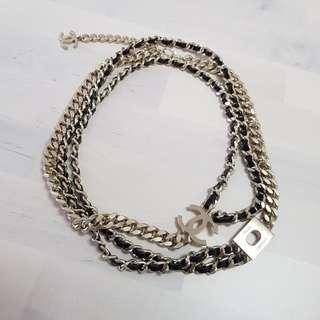 Chanel Leather Chain Logo Long Necklace , Choker or Belt