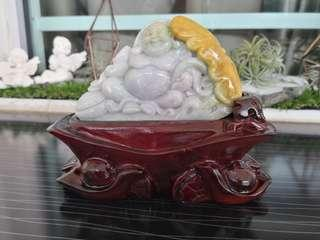 Jadeite Smiling Buddha Display Set