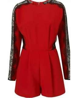 Topshop Long sleeve lace red playsuit size 10