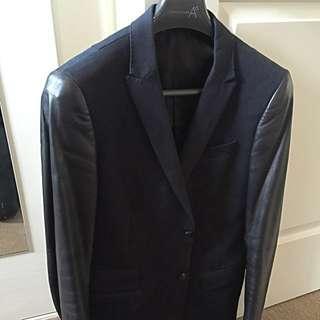 Arthur Galan Leather Sleeve Blazer