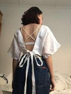 White Linen Wrap Shirt
