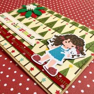 🚚 Christmas Card - Girl with Polar Bear Toy