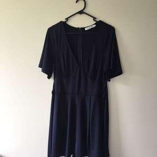 Atoms + here navy playsuit