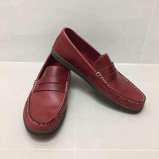 🚚 旅狐 酒紅色 真皮 帆船鞋