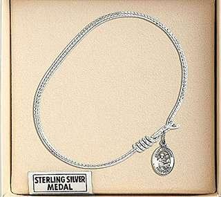 6 1/4 inch oval eye hook bangle bracelet w/ st.Anthony of Padua in Sterling silver