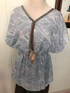 BN chiffon blue top with feather decor.