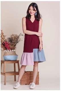 TVD Bianca Tri-colour hem dress in wine