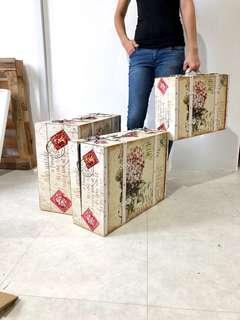 Stamps design wooden storage cases (3 cases)