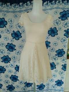 H&M white brocade dress