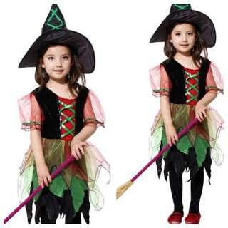 IN STOCK Kids witch costume kids girl Halloween costume trick or treat costume witch costume