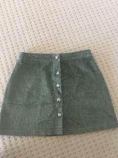 Green cord skirt