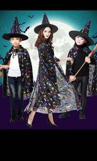 IN STOCK Halloween costume Halloween witch costume Halloween cloak hat starry night black shiny cloak costume cape