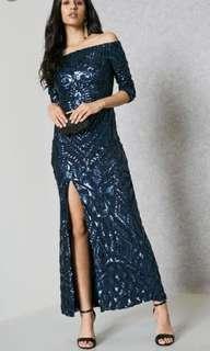 Quiz Navy Dark Blue Off Shoulder Sequin Split Maxi Dress (RENT/SALE)