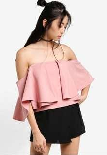 Something Borrowed Pink Layered Off Shoulder Top