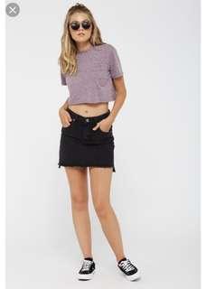 Factorie Black Denim Step Skirt