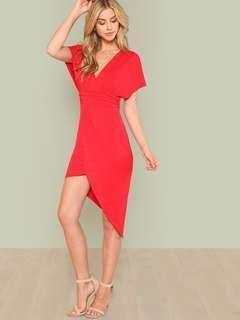 SHEIN Red Asymmetrical Dress