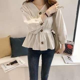 [NEW] Korean Button Down V Neck Long Sleeve Blouse Shirt