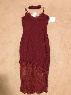 MISSGUIDED red bodycon lace midi dress w/ choker BNWT