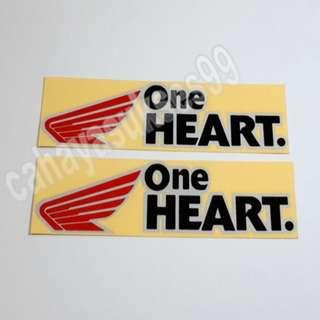Sticker Cutting ONE HEART 15cm X 4.5cm Stiker Body Motor HONDA Striping Decals Kilap Reflective Paket 1 Set 2 Pcs New Ready Stock