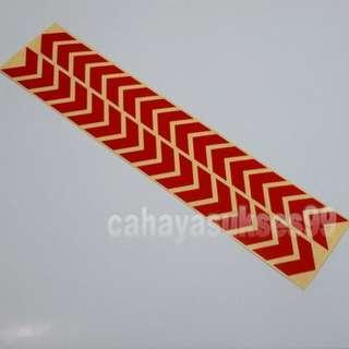 Sticker Cutting SAFETY SIGN ARROW Merah Polos KILAP 30cm Metalic Stiker Reflective PAKET PROMOSI Satu Set Sepasang