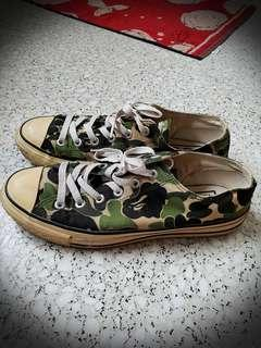 A Bathing Ape Ape Sta ABC OG Green Camo Camouflage Canvas Converse All Star Sneakers Shoe Size US9.5