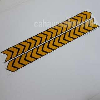 Sticker Cutting SAFETY SIGN ARROW Kuning List Hitam KILAP 30cm Metalic Stiker Reflective PAKET PROMOSI Satu Set Sepasang
