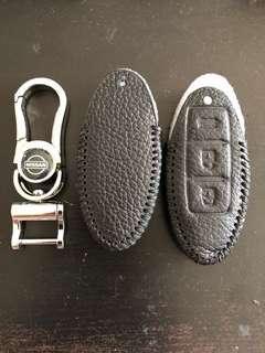 🚚 Leather full black Nissan Qashqai Sylphy key fob pouch