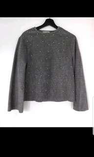 Zara Furry Sweater With Pearls