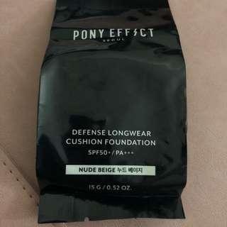 Pony effect cushion foundation .refill .#nude beige defense longwear