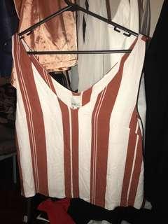 Striped top BNKR white and orange