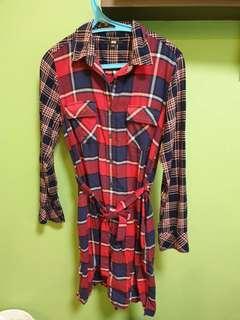 UNIQLO red checkered dress