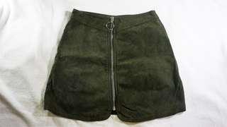 Zara Suede Zipper Skirt - Green