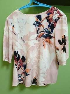WAREHOUSE printed pink blouse
