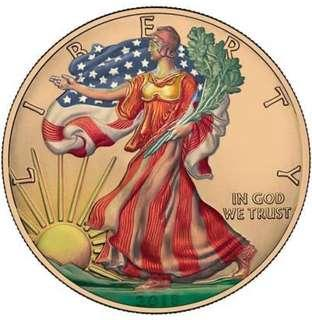 USA 2018 1$ Liberty Eagle Painting 1 oz Silver Gold Plated Coin