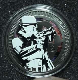 2018 Niue 2$ Star Wars STORMTROOPER 1 oz 999 Black Ruthenium Silver Coin