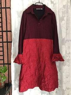 🚚 vintage BRENDA BROWN 義大利製 抓皺 喇叭袖 翻領 拼接洋裝 棉混羊毛 vogue 下北澤
