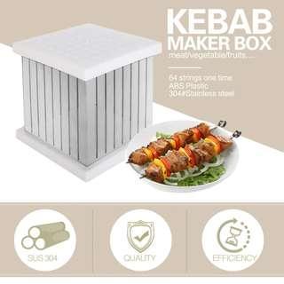 BBQ 64 Holes Kebab Maker Box Stainless Steel Rapid Wear Meat