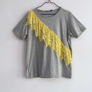 🚚 Like New Boohoo Lace Appliqué Grey Tee
