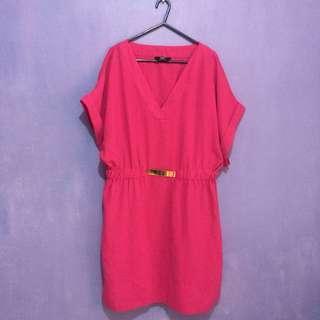 Pink V Neck Dress Plus Size