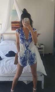 Blue and White Playsuit