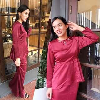 Signature Azara Baju Kurung set in majestic maroon