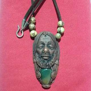 Medicine Man Clay Pendant With Bloodstone And Acai Beads
