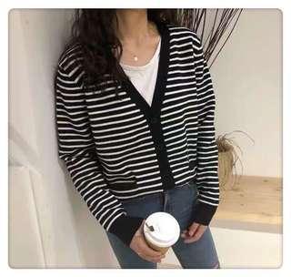 🚚 Grey Stripes Cardigan