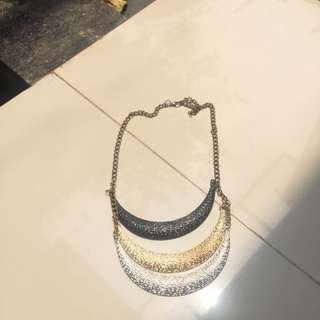 necklace kalung black gold grey