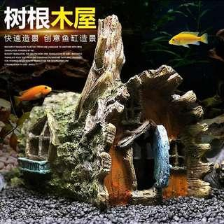 Tree root house for fish tank
