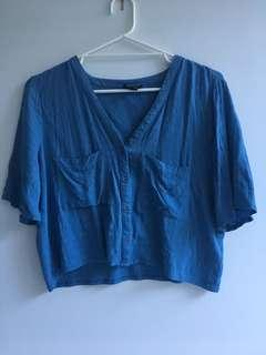 TopShop blue cropped shirt