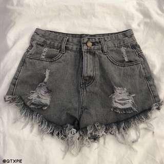 grey acid wash ripped high waist shorts